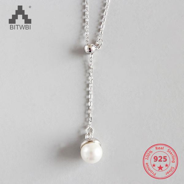 100% S925 Стерлингового Серебра Мода Ювелирные Изделия Регулируемая Имитация Жемчуга Заявление Ожерелье Для Женщин