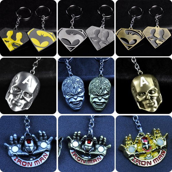 Superhero iron Man Hulk Mask Pendant Keychain Zinc Alloy Metal Superman Key Chain Key Ring For Men Women Christmas Gift