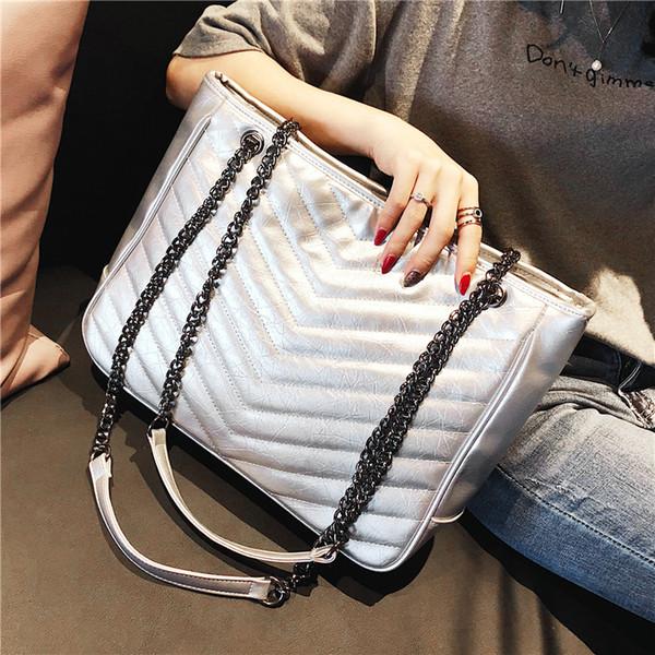 Fashion big bags female 2018 V fringe leather bag Korean version of omnibus bag chain handbag shoulder large capacity tote bag laptop sac