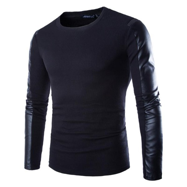Mens Leather Sweatshirt Black Long Sleeve Pullover PU Patchwork Leather Wear Men PulloverClothing Fitness Compression Shirt 2XL