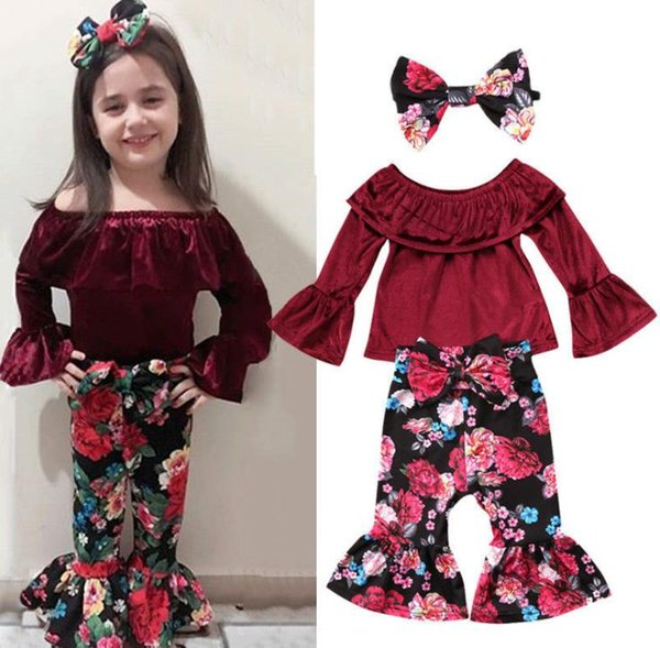 New Clothing Girls Clothes Ins Babys Kids Clothing 2Sets 2018 New Fall Autumn Winter Floral Top T-shirts Pants 2sets
