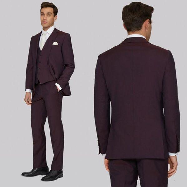Handsome Men Suits Tuxedos For Wedding Dark Burgundy Groom Suits Custom Made Best Groomsmen (Jacket+Vest+Pant)