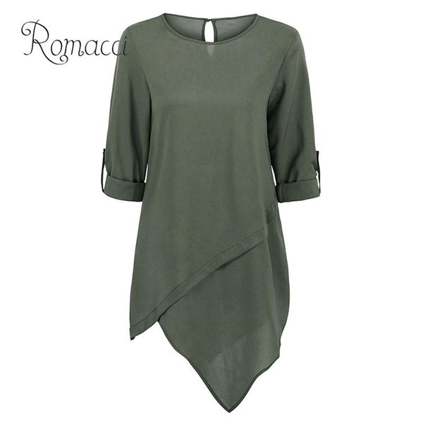 Romacci Women Plus Size Blouse Solid Dip Irregular Hemline Oversize Women Clothing Rolled Long Sleeve Buttons Casual Loose Tops
