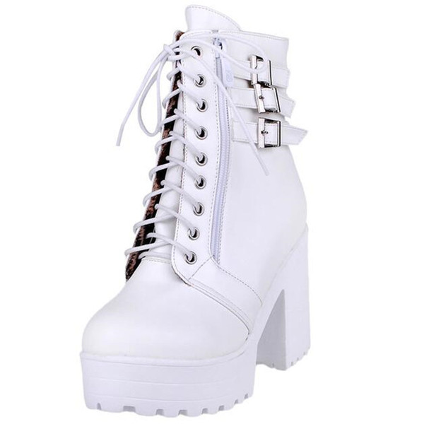 2018 Autumn Winter Women Ankle Boots High Heels Black Lace up Women Boots Sexy Ladies Boots Shoes Plus Size Drop shipping