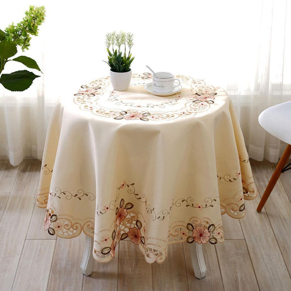 3 Sizes Polyester Embroidered Flowers Table Cloth Textiles Cutwork Table Runners Table Decor Wedding Decorations Home Textiles