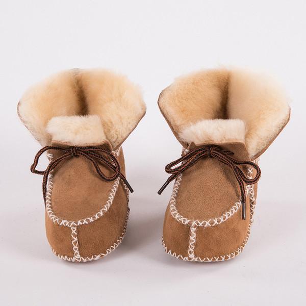 Baby Winter Stiefel Schuhe Pelz Schaffell Echtes Leder Kleinkinder Warme Echtpelz Wolle Erste Wanderer Neugeborene Mädchen Jungen Booties