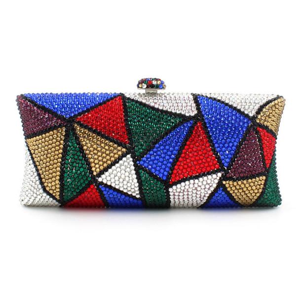 Abend-Handtaschenluxushandtaschen womend des Frauenregenbogens geometrische Designerart und weisehandtaschenminikastengeldbeutel-handgemachte Kupplung