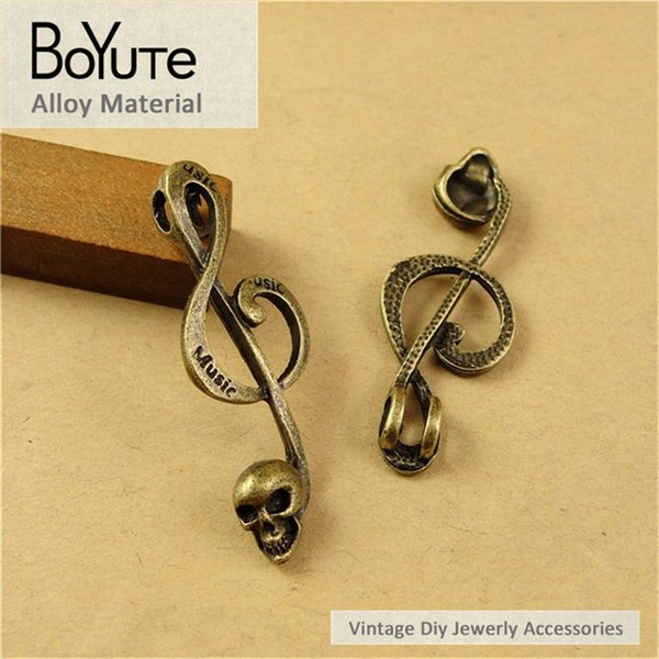 BoYuTe (60 Pieces/Lot) 41*15MM Vintage Accessories Parts Antique Bronze Music Operator Pendant Skull Material Diy Charms for Jewelry Making
