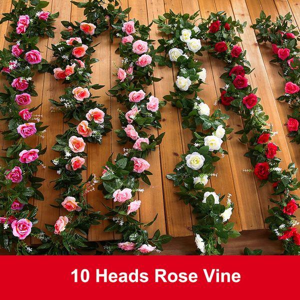 2Pcs Set-10Heads Pink Rose Garland Artificial Vines Decoration Silk Flowers Wedding Decor DIY Home Fake Foliage Ivy Leaf NNW