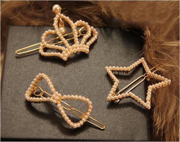 pinzas para el cabello a estrenar moda todo el fósforo chapado en oro de la joyería del pelo de las mujeres al por mayor de imitación de la perla corona / Bowknot / Star Barrettes SHR064