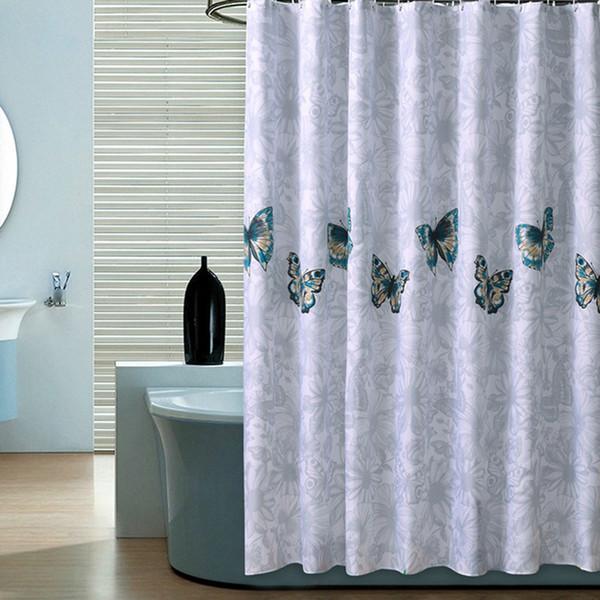 Acheter Rideaux De Douche Papillon De Haute Qualite Polyester Impermeable Rideau De Douche Salle De Bains Style Americain Rideau De Bain Avec Crochets