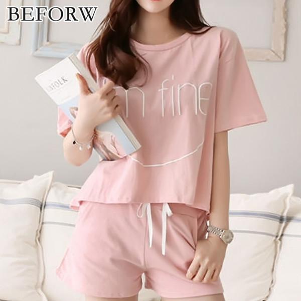 BEFORW мода дышащий пижамы Женские летние комфортные уютные алфавит пижама установите милый классический пижамы шорты женщин пижамы