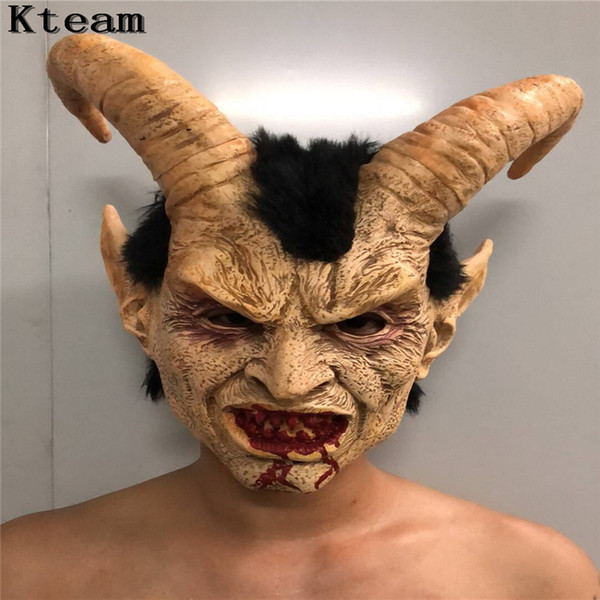 2019 New Hot Scary Adult Costume Horn Mask Horror Party Cosplay Halloween Latex Scary Horns Gold Devil Mask for Party Cosplay