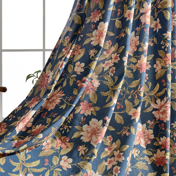 Modern Floral Cotton Printed Blackout Curtains for Wedding Room Window Blinds for Living Room Floral Window Curtain Treatment