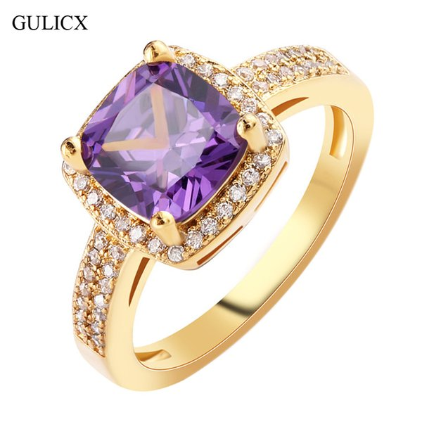 ashion rings for women GULICX Fashion Size 8 Ladies Finger Band Gold-color Ring for Women Princess Crystal Yellow CZ Zircon Engagement Je...