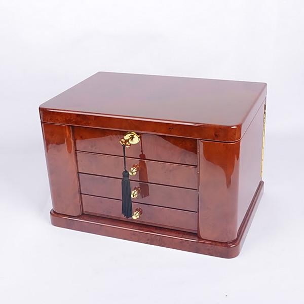 ataúd de lujo espejo incorporado de madera de múltiples capas de alto brillo caso del anillo joyero collar acabado lacado brillante diseño de bloqueo de teclas