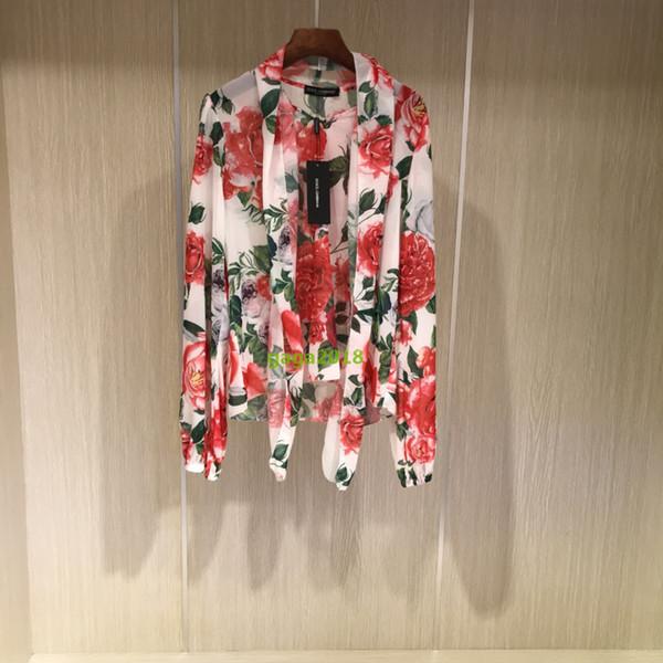 High-end İtalyan marka kadın kızlar Ipek uzun kollu baskı çiçek gömlek bluz Pist tarzı d ve gg Gömlek Zarif Organze Yay Bluz Rahat