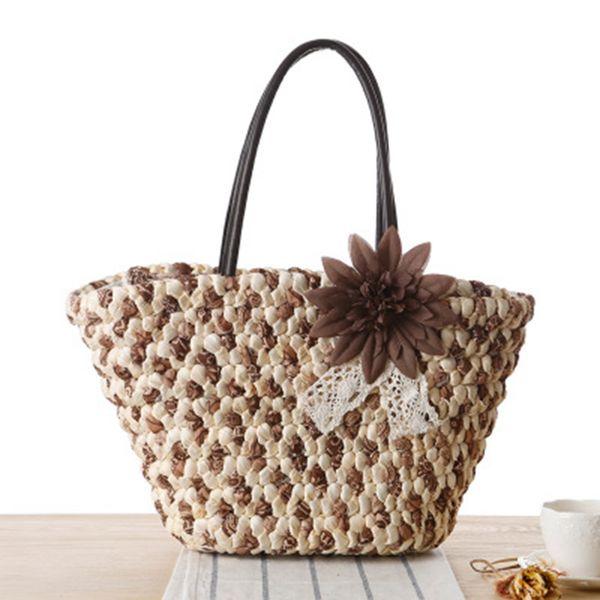 New flowers straw bag England summer vacation fashion woven bag shoulder travel beach bag handbags