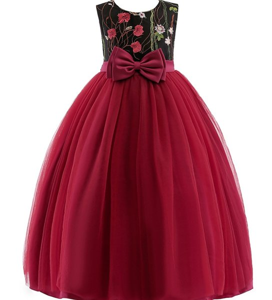 roupas de grife crianças vestido de princesa Bordados Flores Garotas Evening Prom Longo vestido de festa elegante meninas miúdo vestido de casamento com curva vermelha