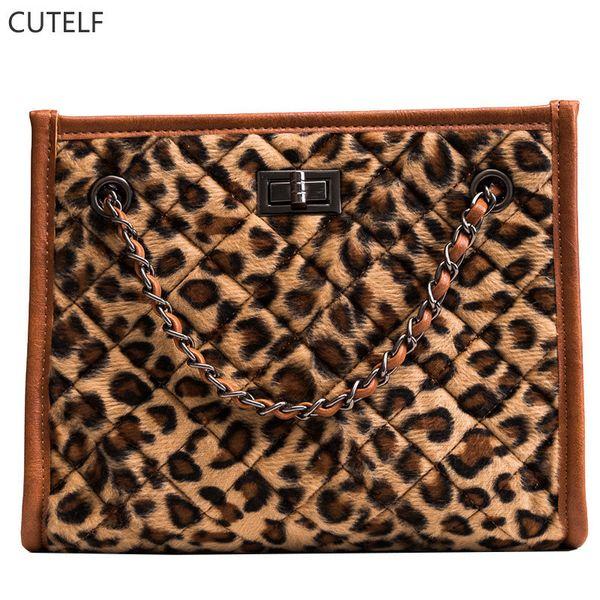 Frauen Clutches Tote Bag Große Kapazität Leopard Geldbörsen Und Handtaschen Kette Handtasche Berühmte Marke Weibliche Schulter Crossbody 2018