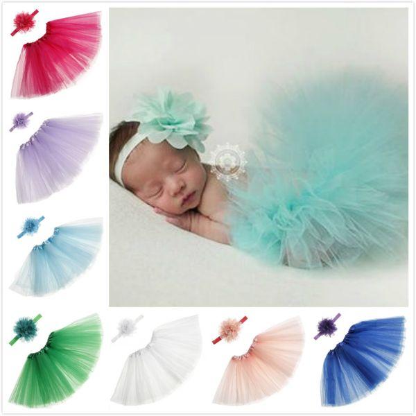 Conjunto de falda de tutú para niñas pequeñas con petaca de verano Ropa de niña bonita recién nacida del bebé Ropa de fiesta fotográfica Vestidos de princesa 15 colores