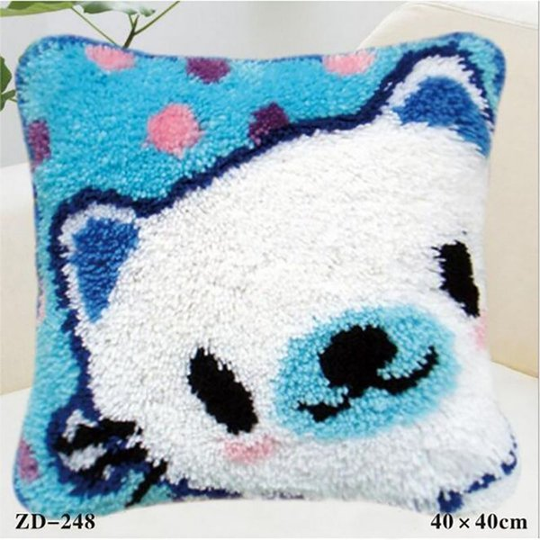 Diy Carpet Embroidery Fashion Funny Cat Square Pattern Animal Printed Throw Pillow New Home Decor Sofa Back Cushion Waist Pillowcase Blue Patio Chair