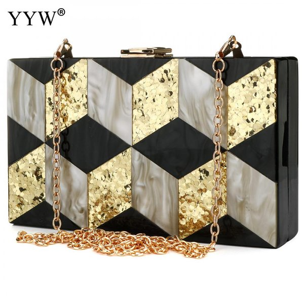 Acrylic Sequin Clutch Bag For Women 2018 Clearance Lady Patchwork Handbag Small Patry Evening Bag New Chain Women Messenger