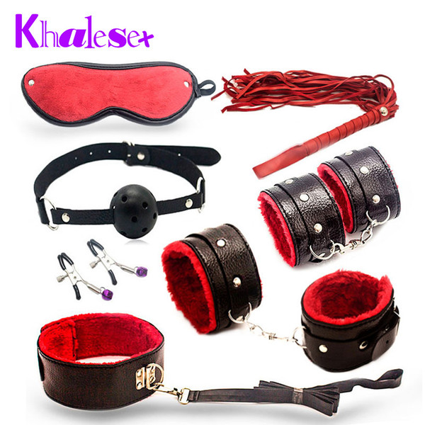 Khalesex 7 Pcs/Set Bondage Kit Fetish Restraint Adult Sex Toys for Couples Games Gag Ball Nipple Clamps Whip Erotic Toy Y18100801