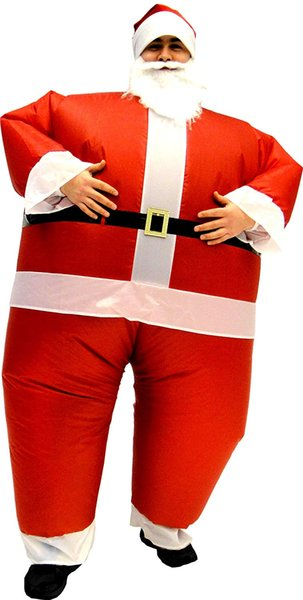 Adult Christmas Party Cosplay Santa Claus Inflatable Chub Suit Costume With Beard and Hat One size