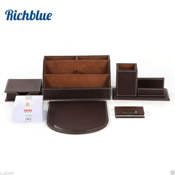 Ever Perfect 6Pcs/Set Leather Desktop Stationery Organizer Pen Holder Box Mouse Pad Note Case Name Card T31