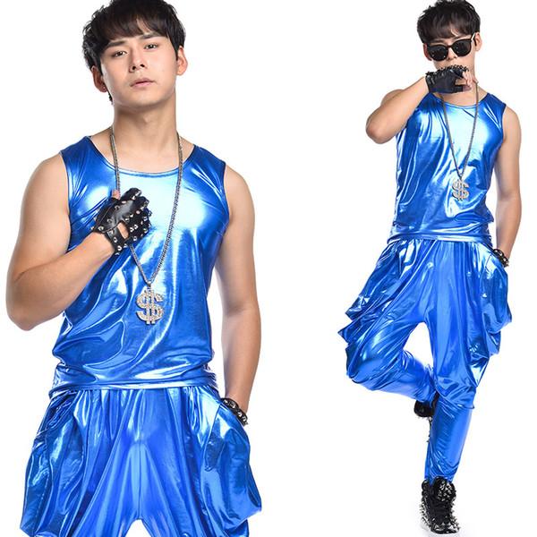 Men Jazz Dance Costumes Fashion Hip Hop Dancing Clothes DJ 2 Set Vest Pants Clothing Sexy Man Stage Club Performance Wear DWY488