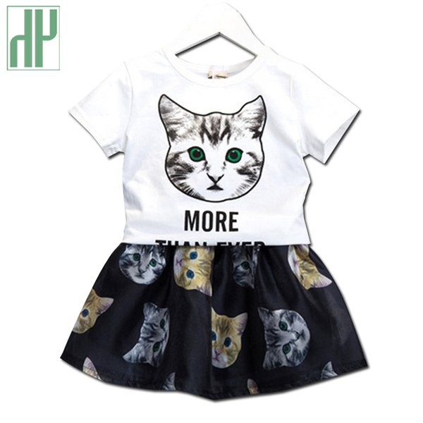 Girls clothes cat Printed Cartoon summer tops+Veil Dress two-piece kids clothes girls outfit 2 3 4 6 7 years children's clothing