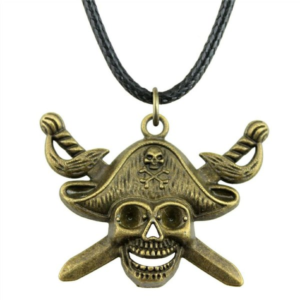 wysiwyg 5 pieces leather chain necklaces pendants choker collar male necklace fashion pirate skull with sword 45x34mm n6-a10028