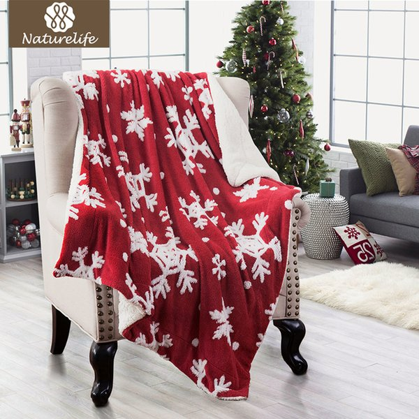 Naturelife Christmas Jacquard Shu Velveteen Throw With Snowflakes Soft Cozy  And Warm Sofa Blanket White/Red Comfortable Blanket Fleece Throws On Sale  ...