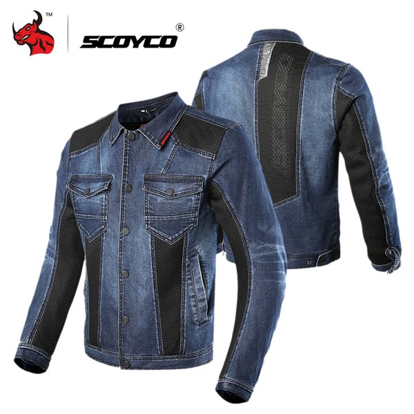 SCOYCO Motorcycle Jacket Men Motocross Casual Denim Jacket Protective Gear Moto Blue Motorcycle Clothing