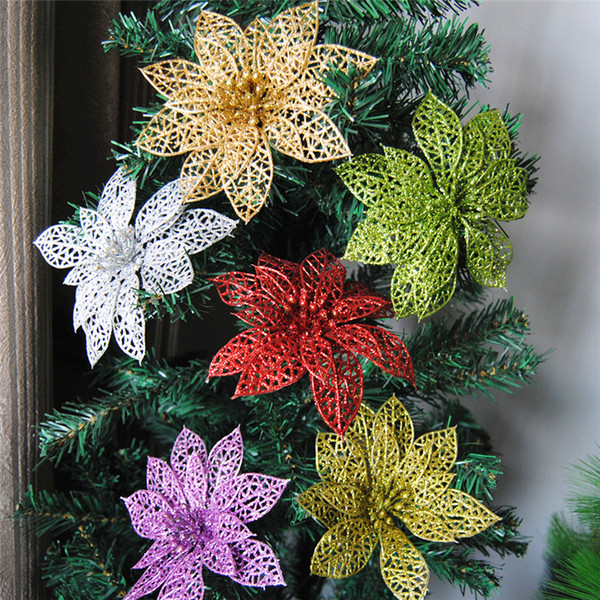 5 Pcs 15cm Glitter Hollow Flower Decoration Flowers Christmas Trees New Year Christmas Decorations for Home Halloween Decoration Y18102609