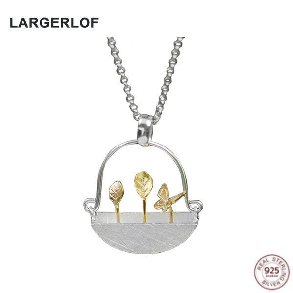 LARGERLOF 925 Sterling Silver Colgante, Collar de Joyería Fina Mujeres Flower Pot Necklace PE50001