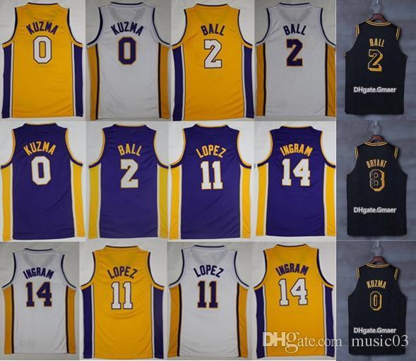 2018 New Los Angeles Lakers 2 Lonzo Ball Jerseys Shorts 0 Kyle Kuzma 11  Brook Lopez 607250974