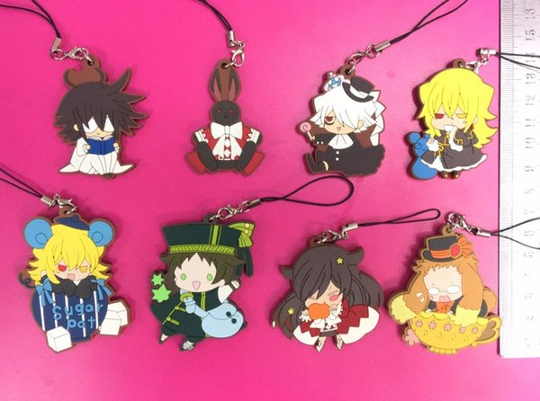 8pcs/lot Pando Heart Original Japanese anime figure rubber mobile phone charms/key chain/strap G962
