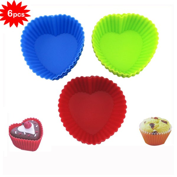 6PCS/Lot Soft Heart Shape Rose Silicon Mold Chocolate Jelly Cake Baking Molds Silicone Fondant Mat Muffin Cup Cupcake plunger