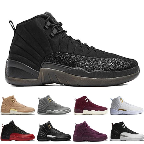 12 12s men basketball shoes Wheat Dark Grey Bordeaux Flu Game The Master Taxi Playoffs Pinnacle Metallic Gold Blue Red Suede Sports sneakers