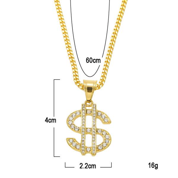 Hip-hop Bling Necklace Gold Color $ Money Symbol Pendant Crystal Dollar Sign Gold Link Chain Pendant Necklace Men Women Jewelry