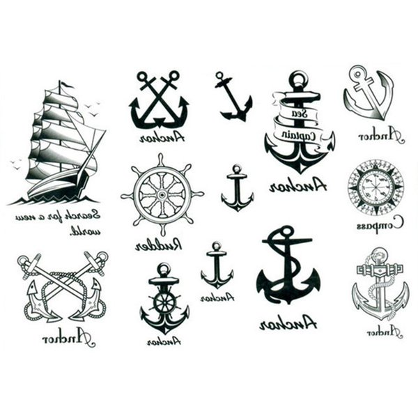 7d22403f871fd 2pcs Waterproof Sailor Type Body Art Temporary Removable Tattoo Decal Anchor  Sticker
