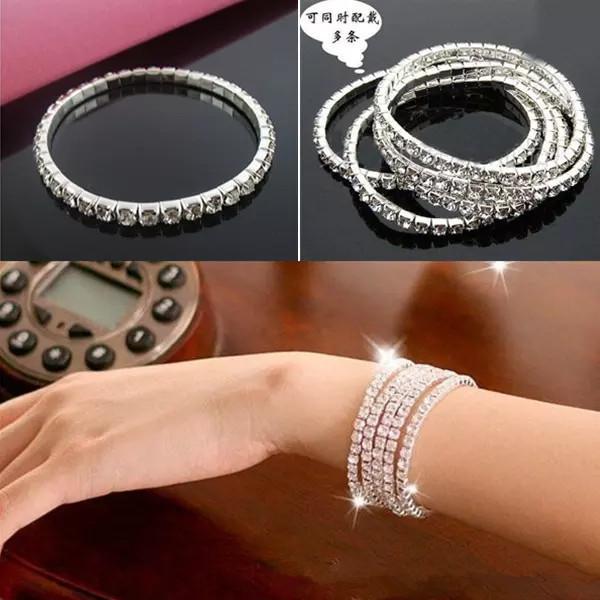 Cheap In Stock Rows 1 Tennis Bracelet Elegant Stretch Bridal Bangle Silver Rhinestones Cute Prom Homecoming Wedding Party Jewelry Bracelet
