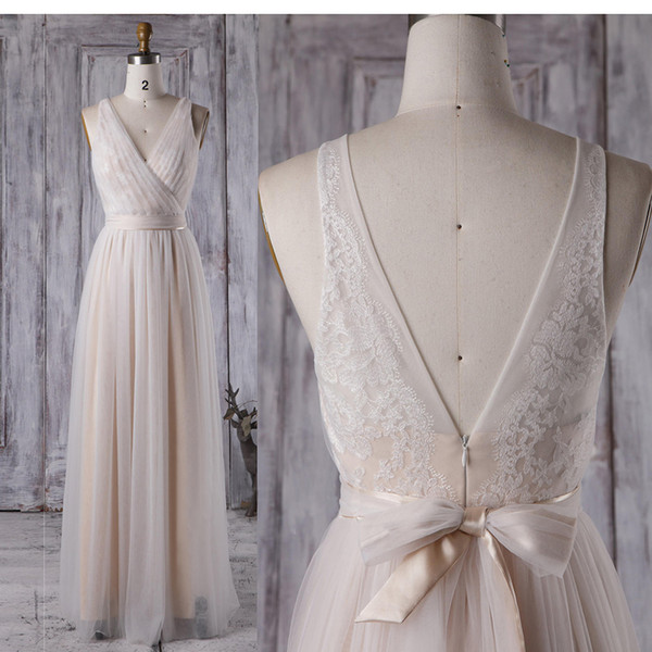 2018 Best Sale Champagne Real Photos Sheath V-Neck Tulle Pleat Lace Evening Gowns Sashes With Bow Floor-Length Sexy Open Back Evening Dress