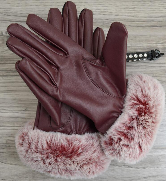 Autumn and Winter ladies touch screen gloves windproof leather warm plus velvet PU leather gloves Five Fingers Gloves 002