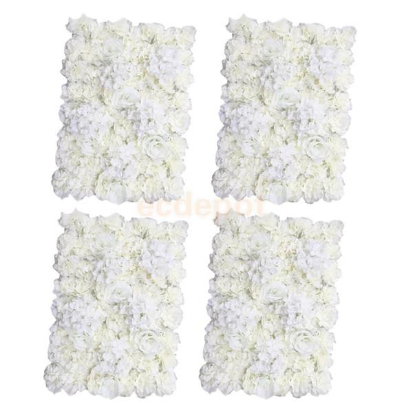 4 pieces Artificial Flower Wall Wedding Venue Flower Pillar Main Road Decor Cream