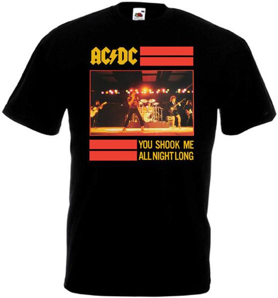 Мужчины Марка Clothihng Высочайшее Качество Модные Мужские Футболки 100% Хлопок AC / DC Ты Потряс меня Всю Ночь Футболка v2 черный плакат все размеры S ... 3XL