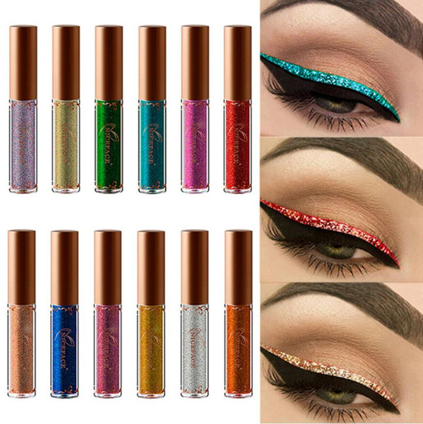 NICEFACE Pearled Metallic Liquid Glitter Eye Liner Diamante Alta  Pearlescent Brown Liquid Eyeliner Tattoo Colorful Eyeliner Por  Fashion_show2017,
