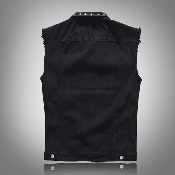 Polyester Denim Vest Men's Punk Rock Style Rivet Cowboy Black Jeans Waistcoat Raw Edge Male Motorcycle Jacket Sleeveless Tanks